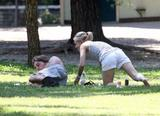 Kristen Bell - Candids in Rome bending and stretching in park (showing her ass and cameltoe(?))