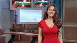 Jackie Guerrido Tight Red Dress with Cleavage 4/30  Weather on Univision