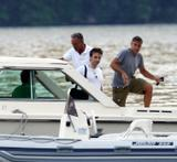 George Clooney on the boat with friends in Lago di Como, Italy 8.7.08